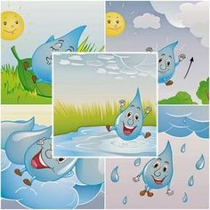 Preschool Learning Activities, Preschool Classroom, Cycle Drawing, In Natura, Water Cycle, Water Conservation, Blended Learning, Elementary Art, Pikachu