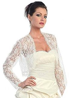Ivory Lace Bolero Jacket Long Sleeve Wedding Jacket Lace Bridal Shrug   Dressy Jackets Wedding