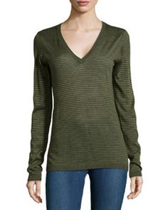 T9EAT Minnie Rose Striped V-Neck Sweater, Forest Heather