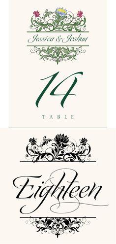 Moon Bloom Vintage Monogram Wedding Table Numbers
