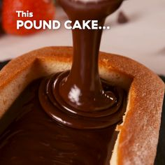 Make your own pound cake for your fondue party with our classic pound cake. Just be careful to not cut too much bread out of your pound cake. You'll want a hefty border to hold all of that dreamy chocolate. Get the recipe at Delish.com. #poundcake #delish #easy #recipe #cake #homemade #storebought #chocolate #fondue #fondueboat #dessert #fonduenight #party #ideas #dippers