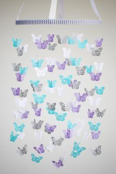 THIS ONE: Butterfly Mobile Baby Crib Mobile in Aqua Light by BabyJayDecor, $58.00