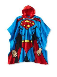 53% OFF AME Big Kid Superman Hooded Poncho (Blue)