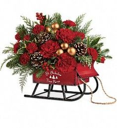 Teleflora's Vintage Sleigh Bouquet in Toppenish WA, Alice's Country Rose Floral