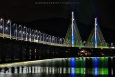 Estaiada - Ponte Estaiada nas cores do Brasil - Laguna - Santa Catarina
