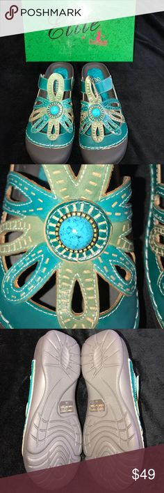 Elite by Conkys Turquoise and Olive Shoes Size 11 Hand painted Elite by Conkys Shoes