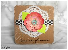 #handmade #birthday #card with big paper #flower!! More infos and supplies list on my blog #scrapbooking #cardmaking