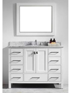 "This Pichardo 42"" Single Bathroom Vanity Set has unique and very simple lines that define its simplicity. This collection comes with a double layer Italian white Carrera marble countertop with beautiful natural gray lines. If you are looking for an elegant transitional vanity with great storage, this collection should be on the top of your list. Price Includes Bathroom Cabinet, Countertop, Sink -Brushed Nickel Hardware."