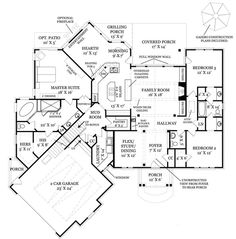 Craftsman Style House Plan - 3 Beds 2.5 Baths 2404 Sq/Ft Plan #119-369 Floor Plan - Main Floor Plan - Houseplans.com