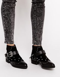 Enlarge ASOS AQUARIUS Embellished Leather Ankle Boots