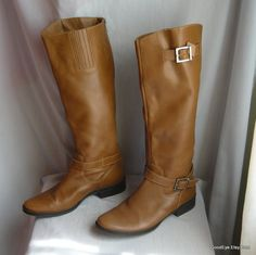Vintage Flat Harness Boots size 7 M Leather  Brazil Tan by GoodEye, $65.00 ~ Nice clean style