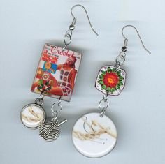 Crochet earrings granny square knit instructions ball of yarn Crocheters Asymmetrical earring
