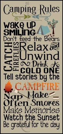 3001 * Camping Rules Typography Stencil