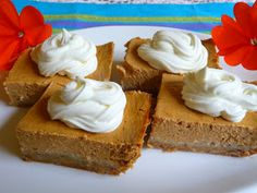 SPLENDID LOW-CARBING BY JENNIFER ELOFF: SOUR CREAM PUMPKIN CHEESECAKE BARS