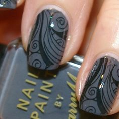 black and grey nails, konad stamping plate m51