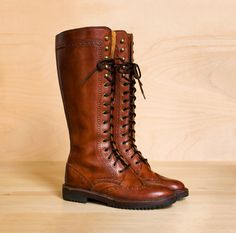 Lace up riding boots 5 - 5.5. Vintage 1980s Cole Haan Country mahogany leather wingtip boots.. $148.00, via Etsy.