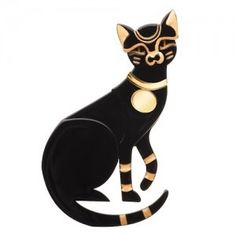 CLEOCATRA - EGYPTIAN STYLE BLACK AND GOLD BROOCH
