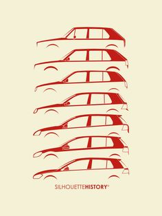 """silhouettehistory: """"Wolfsburger Hatch Five SilhouetteHistory Silhouettes of the seven generations of the Volkswagen Golf, from I to VII. Golf Mk3, Golf 1 Cabrio, Volkswagen Golf Mk1, Vw Mk1, Volkswagen Models, Gti Car, Volkswagen Logo, Vw Logo, Car Silhouette"""