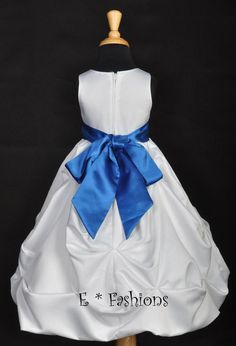 white with pickups and blue sash