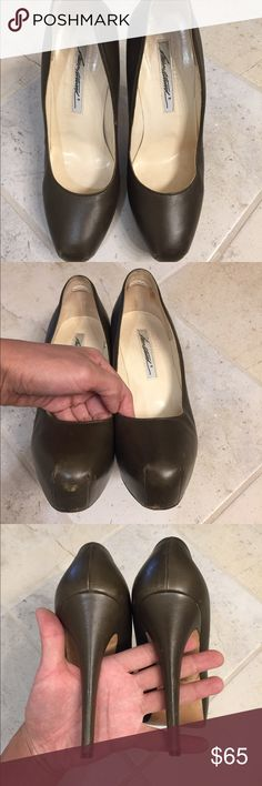 """Brian Atwood platform pump It's a mix between gray and army green color. Mild scuff at the heel, but leather all intact at the heel. 5"""" heel, neutral can pair with any outfit. Brian Atwood Shoes Heels"""