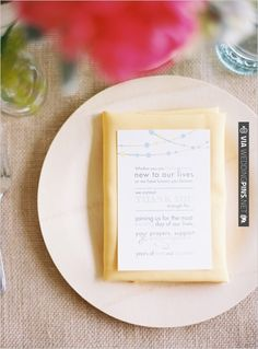 thank you notes graciously placed on wedding napkins to let your guest know you appreciate them sharing your day. awwww. love.   VIA #WEDDINGPINS.NET