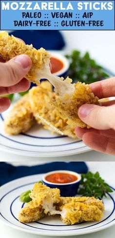 Mozzarella sticks with tapioca cheese that melts and stretches! #Paleo and #Vegan and even suitable for the #AIP! This recipe is easy and delicious. Nut-free, Gluten-free, Grain-free, Dairy-free // TheCuriousCoconut.com