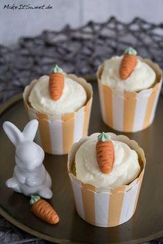 Karotten-Nuss-Muffins mit Topping Marzipankarotte Rezept Möhren Ostern Osterbrunch