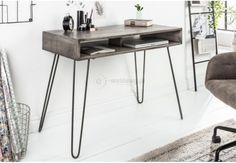 biurko do komputera, biurko z drewna mango szare i brązowe Scorpion 100 cm,biurko 100 cm Solid Wood Furniture, Hanoi, Office Desk, Interior Design, Home Decor, Products, Design Ideas, Environment, Design Desk
