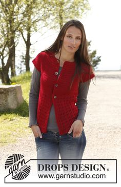 "Crochet DROPS vest with round yoke in ""Lima"". Size: S - XXXL. ~ DROPS Design"