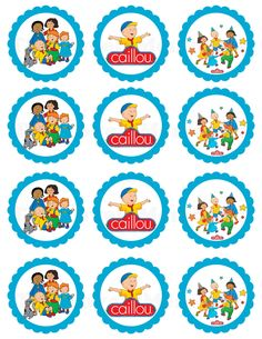 This listing is for Caillou Theme Inspired Printable cupcake toppers. Printable jpg file. Each tag measure 2.5 can be punched with a circle