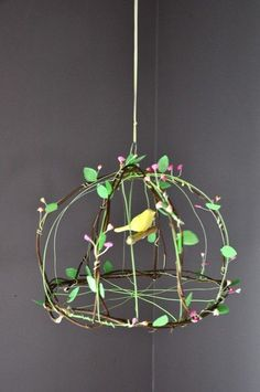 New wire bird cage diy etsy Ideas, The bird cage is both a home for your chickens and an ornamental tool. You are able to choose anything you want on the list of bird cage designs and get a lot more unique images. Wire Crafts, Diy And Crafts, Arts And Crafts, Art Fil, Diy Luminaire, Paper Birds, Bird Cages, Wire Art, Dollhouse Furniture