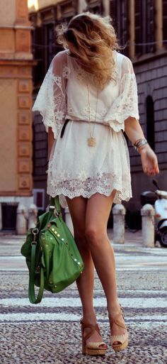 Lacy white dress. Determined to have summin like this in my wardrobe some day