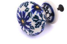Polish Pottery 1-inch Drawer Pull Knob | Boleslawiec Stoneware | Polmedia H8456F