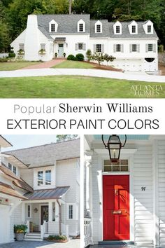 10 inviting popular Sherwin Williams exterior paint color ideas to consider when selecting a color for your house. Begin your next project with these beautiful popular Sherwin Williams exterior colors. White Exterior Paint, White Exterior Houses, White Siding, House Paint Exterior, Exterior House Colors, Black Shutters, Exterior Design, Wood Shutters, Exterior Siding