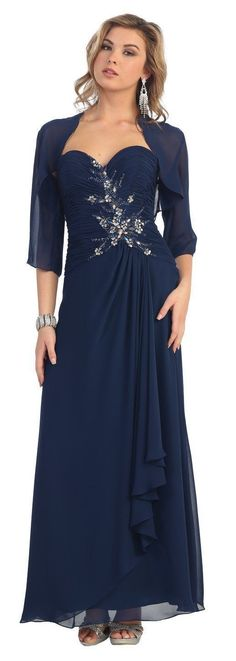 Long Chiffon Plus Size Mother of the Bride Formal Dress