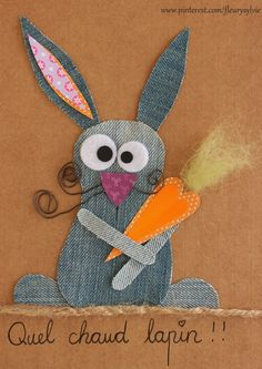 Voilà un chaud lapin !!  #jeans #recycle https://pinterest.com/fleurysylvie/mes-creas-la-collec/ et www.toutpetitrien.ch