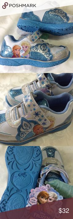 Disney frozen Light UP Size 12 girls Walking shoes New Disney frozen lightUP ! Size 12 girls Walking Shoes blue and white Disney Shoes Sneakers