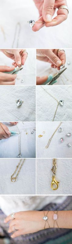 An easy tutorial for a delicate DIY rhinestone bracelet - made with scrapbooking gems!