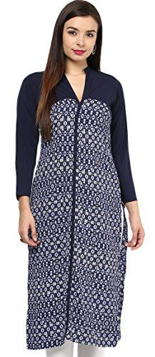 IVES Crepe Printed Blue Straight Regular Fit Kurti for Women Check more at http://www.indian-shopping.in/product/ives-crepe-printed-blue-straight-regular-fit-kurti-for-women/