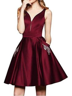3df9fe2aac Maroon Short Homecoming Dresses With Pocket Cheap Homecoming Dress