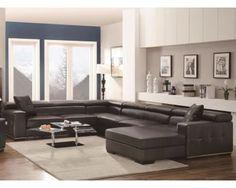 Large U Shape Charcoal Bonded Leather Sectional Sofa