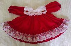 Vintage Miniworld Baby Girl 9M Dress Red Lacy Square Collar Ribbon Christimas  #Miniworld #DressyHoliday