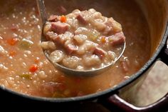 White Bean and Ham Soup. Thick, flavorful soup!! Great comfort meal!