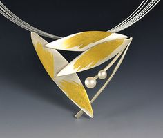 Feathered+Pearl+Necklace by Judith+Neugebauer: Gold,+Silver+&+Pearl+Necklace available at www.artfulhome.com