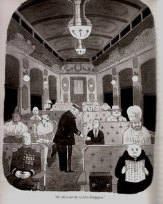"A favorite Charles Addams cartoon...""No, this is not the 4:18 to Bridgeport"""