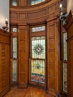 Superb stained glass in an 1896 St Louis home. This area appears to be very high, but these lower windows all open.