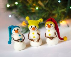 Set of 3 felted snowman figurines Christmas decorations Christmas tree ornaments Christmas home decor Xmas party favors Christmas gift under