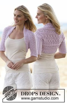 Knitted DROPS shoulder piece with lace pattern in BabyAlpaca Silk. Free knitting pattern by DROPS Design. Shrug Knitting Pattern, Knit Shrug, Knitting Patterns Free, Free Knitting, Free Pattern, Knitting Tutorials, Drops Design, Crochet Shirt, Knit Crochet