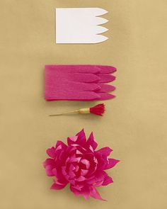 Use 32 inches of petals (get the template below) and a fringe stamen. Attach strip, placing end a little low on stamen and pleating bottom edge as you wrap, gradually bringing strip higher on stamen. Cup each petal inward, then curl inward; pinch each tip to give it a crease. Get the Dahlia Petal Template