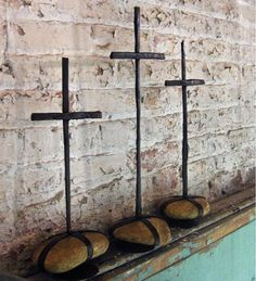 "Recycled Metal Cross Trio... Wind & Weather.... Tallest cross measures 21"" H"